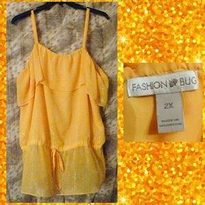 Fashion Bug Yellow & Silver Cami Blouse Sz 2X